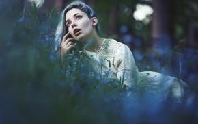 Картинка лес, взгляд, девушка, цветы, природа, лицо, поза, фон, настроение, рука, платье, губы, лежит, боке, незабудки, …