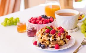 Обои чай, виноград, сок, черника, вафли, ягоды, малина, шоколад, завтрак, джем