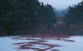Картинка лес, снег, нечто, bio south