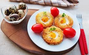 Картинка еда, завтрак, тарелка, помидоры, бутерброды, разделочная доска