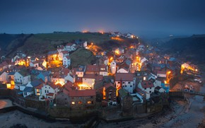Картинка Англия, вечер, деревня, near Whitby, little village, N-Yorkshire