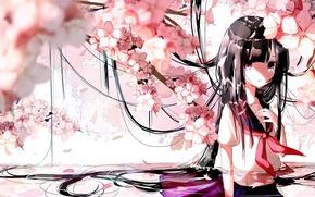 Картинка вода, ветки, лепестки, сакура, школьница, цветение, длинные волосы, слёзы, челка, матроска, Kantai Collection, Haruna