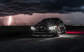 Обои Light, F80, LED, Lighting, Clouds, Night, BMW, Black
