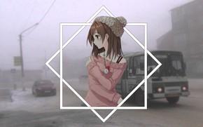 Картинка зима, девушки, автобус, anime, madskillz, мэдскиллз