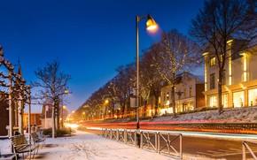 Картинка зима, снег, ночь, огни, улица, Нидерланды, Мидделхарнис