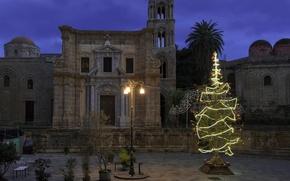 Картинка огни, праздник, елка, Новый Год, Рождество, Италия, Палермо, Марторана