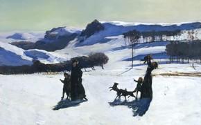 Обои пейзаж, Снежные Поля, Зима в Беркшир-Хилс, снег, горы, Рокуэлл Кент, Rockwell Kent, картина