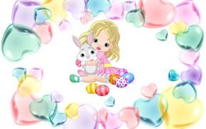 Картинка праздник, яйцо, кукла, арт, пасха, девочка, зайчик, сердечко, крашенки, детская