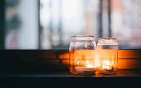 Обои свечи, банки, фон