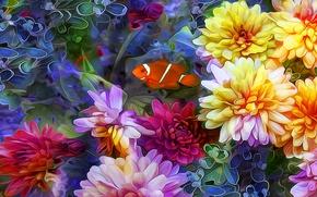 Обои коллаж, рыбка, лепестки, линии, цветы