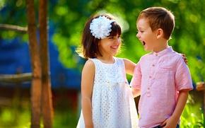 Обои мальчик, Smile, друзья, радость, лето, платье, Little girls, улыбка, Dress, Boys, дети, children, девочка