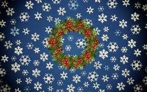 Картинка Зима, Минимализм, Снег, Новый Год, Рождество, Снежинки, Фон, Рябина, Праздник, Венок, Праздничный венок