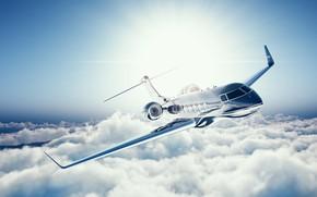 Обои частный самолет, пассажирский административный, Learjet 45, двигатели турбореактивные, Лирджет 45, самолет, business jet, облака, высота, ...