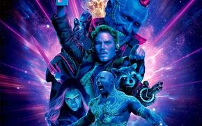 Картинка космос, фантастика, коллаж, постер, Nebula, Rocket, Mantis, Karen Gillan, Zoe Saldana, Peter Quill, Star-Lord, Gamora, …