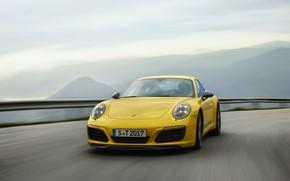 Картинка дорога, небо, асфальт, горы, жёлтый, Porsche, 2018, 911 Carrera T, 370 л.с.
