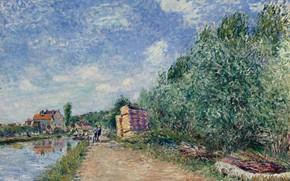Картинка пейзаж, дом, река, картина, Alfred Sisley, Альфред Сислей, The Loing Channel. Tow-Path