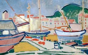 Картинка пейзаж, лодка, дома, Порт, яхта, причал, фовизм, Андре Дерен, Andre Derain