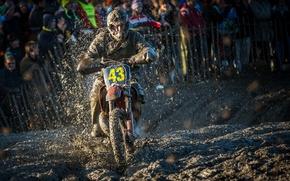 Картинка гонка, спорт, грязь, мотоцикл