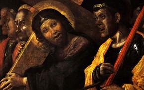 Картинка Huile sur Toile, Atelier d'Andrea Mantegna, Le Christ, 1505, portant sa croix