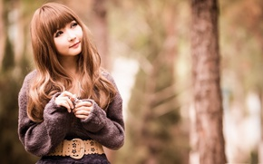 Картинка Girl, Nature, Asian, Smile, Cute, Outside