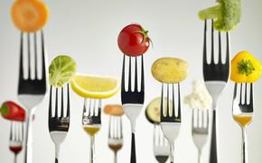 Картинка перец, овощи, морковь, вилки, брокколи, картофель