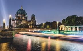 Картинка Дома, Ночь, Германия, Фонари, Берлин, Река Мост
