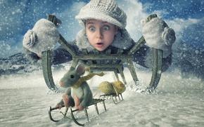 Обои арахис, санки, зима, снег, мышь, девочка