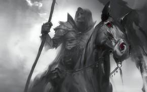Картинка страх, Смерть, красные глаза, всадник Апокалипсиса, черная лошадь, черный рыцарь, саван, Dark Soul