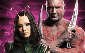 Картинка фантастика, ножи, постер, Mantis, Dave Bautista, Drax, Дэйв Батиста, Guardians of the Galaxy Vol. 2, …