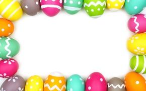 Картинка рамка, colorful, Пасха, spring, Easter, eggs, decoration, Happy, frame, яйца крашеные