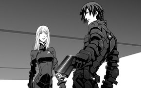 Картинка girl, gun, pistol, mecha, weapon, anime, Blame!, machine, blonde, animated film, animated movie, Netflix, Killy, …