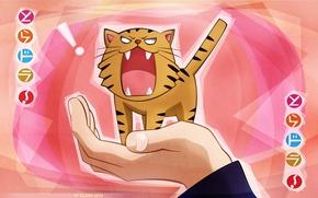 Картинка рука, иероглифы, злой, ладонь, розовый фон, тигренок, Aisaka Taiga, Toradora!, by Yasu