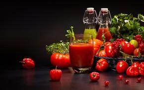 Картинка зелень, сок, перец, томат