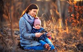 Картинка ветки, природа, женщина, мама, ребёнок, верба, мать