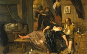 Картинка дерево, масло, картина, жанровая, Ян Хавикзоон Стен, Пьяная Пара