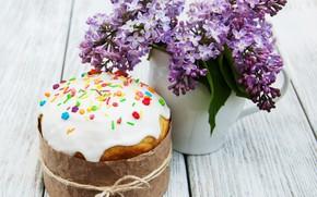 Картинка цветы, доски, букет, пасха, ваза, кулич, выпечка, сирень, боке