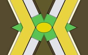 Картинка треугольники, тени, слои, овал