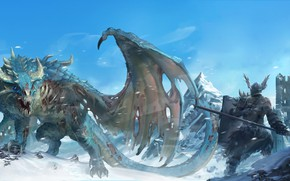 Картинка fantasy, Dragon, tower, armor, weapon, wings, tail, mountains, snow, ruins, castle, digital art, artwork, warrior, …