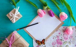Картинка цветы, подарок, бабочка, тюльпаны, розовые, wood, pink, flowers, romantic, tulips, gift, spring