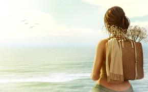 Картинка море, девушка, птицы, ранец