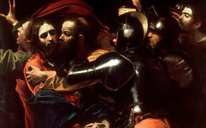 Картинка картина, мифология, Взятие под Стражу, Микеланджело Меризи да Караваджо