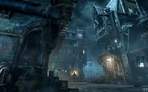 Картинка ночь, город, здания, фонарь, Thief Screenshots