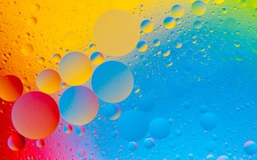 Картинка вода, пузырьки, краски, масло