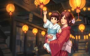 Картинка праздник, аниме, фонарики, мама, дочка, Vu Nguyen, A Night in Kugane, обон, тётин