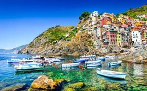 Обои море, скалы, побережье, вилла, лодки, Италия, домики, Riomaggiore, travel
