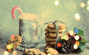Картинка снег, украшения, Новый Год, печенье, Рождество, happy, Christmas, vintage, snow, chocolate, New Year, Merry Christmas, …