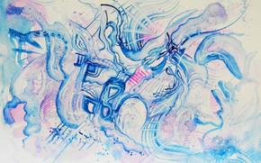 Картинка синий, розовый, голубой, Рисунок, вьюга, метель, Лена Роговая, зимний стиль