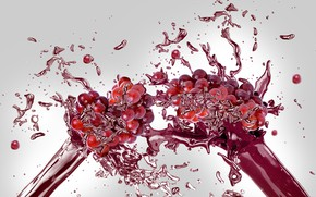 Картинка брызги, сок, виноград, всплеск