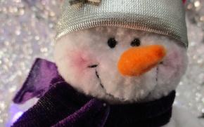 Картинка макро, фон, настроение, новый год, снеговик
