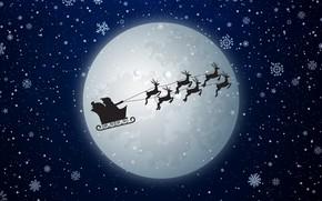 Обои Новый Год, Луна, Праздник, Сани, Летит, Санта-Клаус, Олени, Минимализм, Зима, Полнолуние, Рождество, Санта, Снежинки, Снег, ...